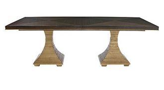 Double Pedestal Jet Set Dining Table (356-242C, 356-244G) from Berhnardt furniture