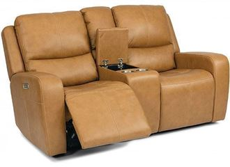Aiden Power Reclining Leather Loveseat with Console & Power Headrest (1039-64PH) by Flexsteel furniture