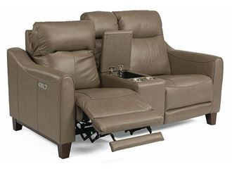 Forte Power Reclining Leather Loveseat with Console 1197-64PH from Flexsteel furniture