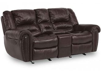 Picture of Town Leather Loveseat with Console (1010-604)