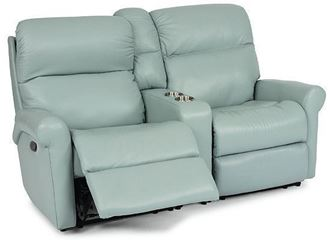 Davis Reclining Leather Loveseat with Console (3902-601) by Flexsteel furniture