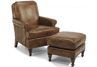 Flemington Leather Chair & Ottoman (330C-10) by Flexsteel